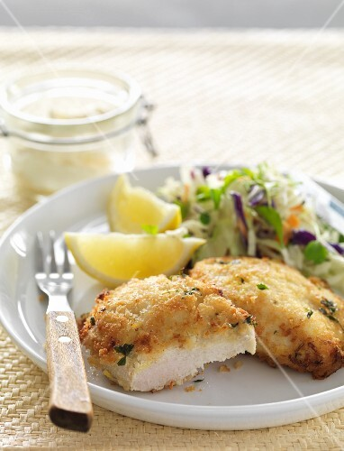 Chicken escalope with lemon and coleslaw