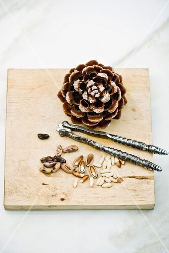 Pine nuts, a pine cone and a nutcracker on a chopping board