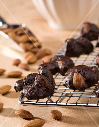 Homemade Gluten Free Chocolate Almond Clusters; On Cooling Rack; Whole Almonds