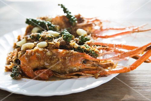 Garlic prawns with green pepper (Thailand)