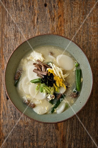Bowl of Korean Rice Cake Soup with Brisket