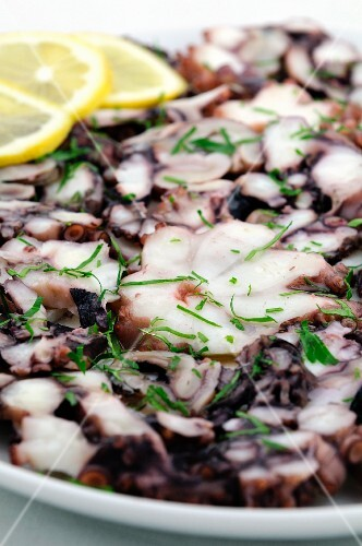 Squid carpaccio with herbs and lemon