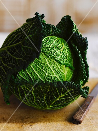 A savoy cabbage on a chopping board