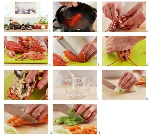 Hummer-Bisque vorbereiten: Hummer kochen und auslösen