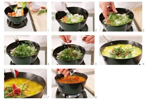 Hummer-Bisque vorbereiten: Gemüsefond zubreiten