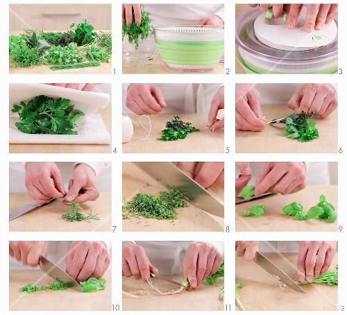 Fresh herbs being prepared (German voice-over)