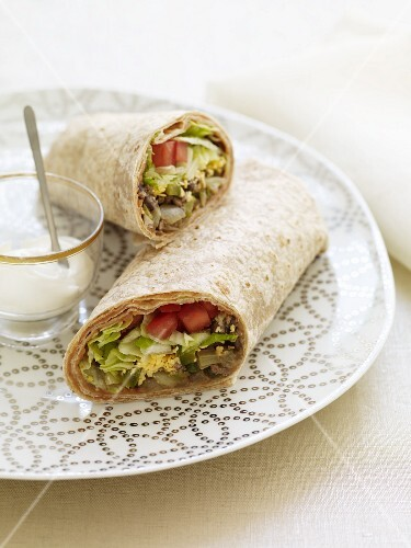 Veggie Wrap on a Plate with Dressing