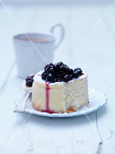 Plate of blackcurrant cheesecake
