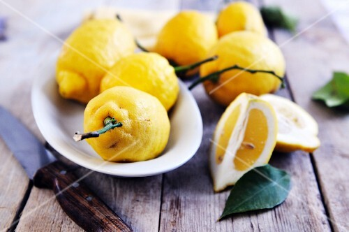 An arrangement of organic lemons from the Amalfi coast, Italy