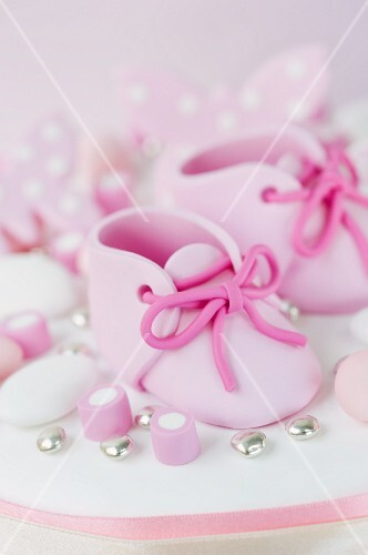 Pink fondant baby shoes