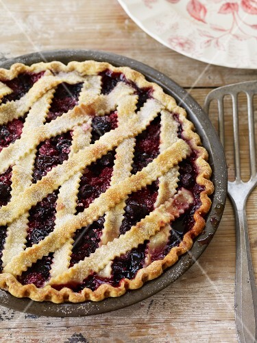 Whole Blueberry Pie with Lattice Top; From Above