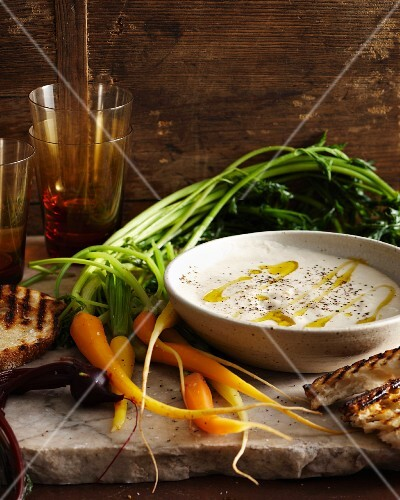 Bagna cauda (warm anchovy sauce with vegetables, Italy)