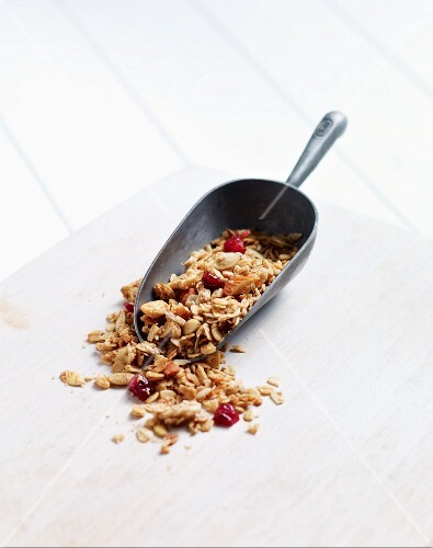 Homemade muesli with dried cranberries on a scoop