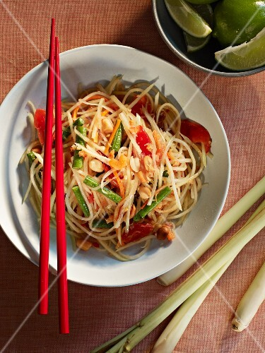 Thai noodle salad with peanuts and lemongrass