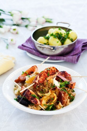 Smoked pork kebabs with sauerkraut