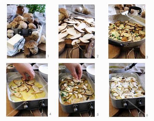 Making porcini mushroom and potato lasagna