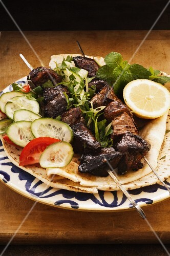 Pork kebabs with a red wine marinade