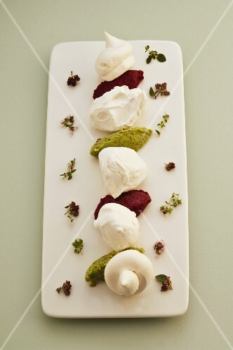 Meringue with vegetables and herb mousse