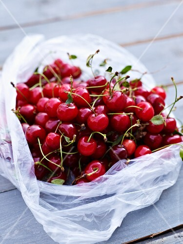 Sour cherries in a plastic bag