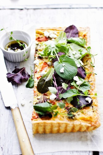 Smoked salmon, vegetable and herb tart