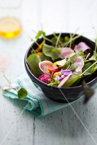 Bittercress salad with watermelon radish, edible flowers and baby carrots