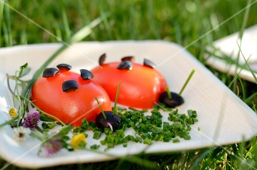Tomato ladybirds with chives