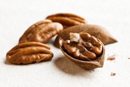 Pecans In and Out of a Shell