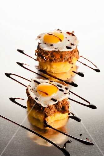 Sweet Corn Cakes Topped with Duck and Quail Egg