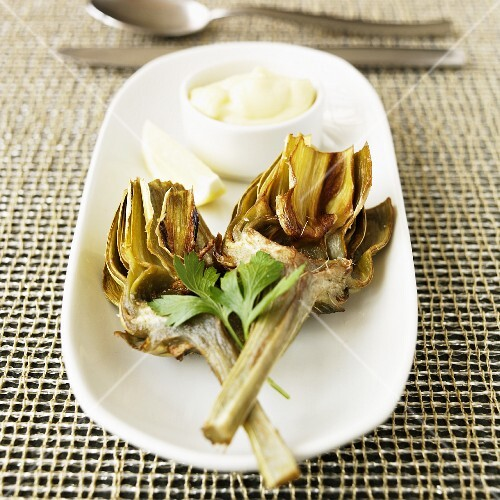 Twice Cooked Artichokes with Garlic Mayonnaise