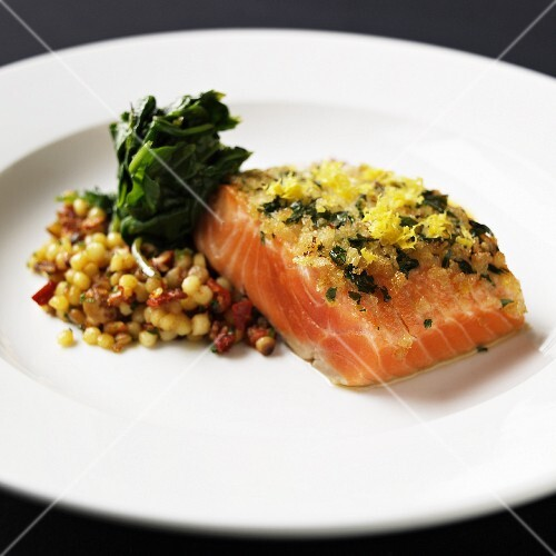 Lemon-Parsley Crusted Salmon with Spinach and Sun-dried Tomato Couscous