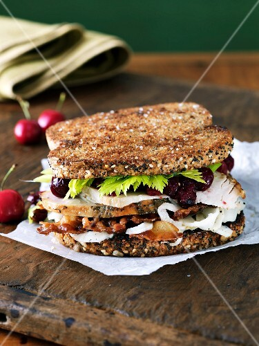 Turkey Sandwich with Bacon and Cranberry Sauce on Multi-Grain Bread