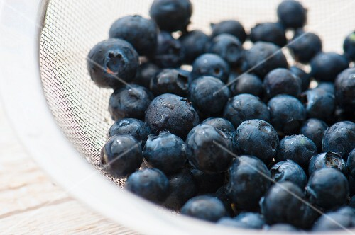 Blueberries in a sieve
