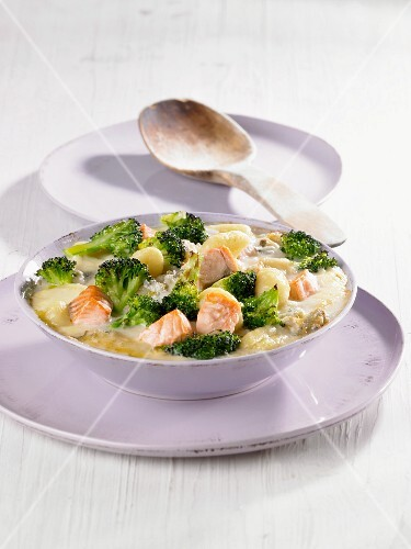 Gnocchi with salmon and broccoli in a creamy cheese sauce