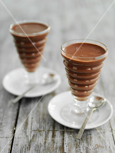 Chocolate mousse in dessert glasses