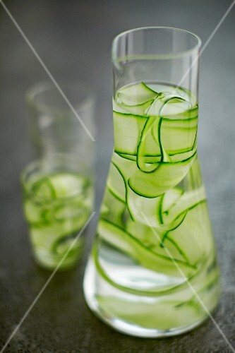 Cucumber water in a carafe