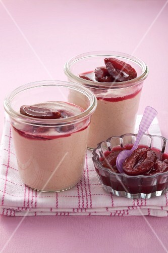 Damson mousse with compote