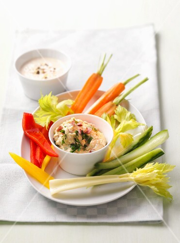 Vegetable sticks with a dip