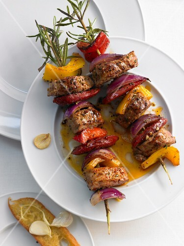 Pork, pepper and onion skewers
