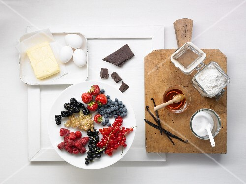 Various ingredients for desserts and cake
