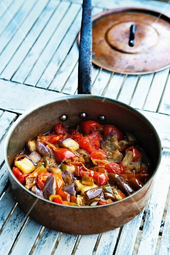 Rataouille in a copper pot