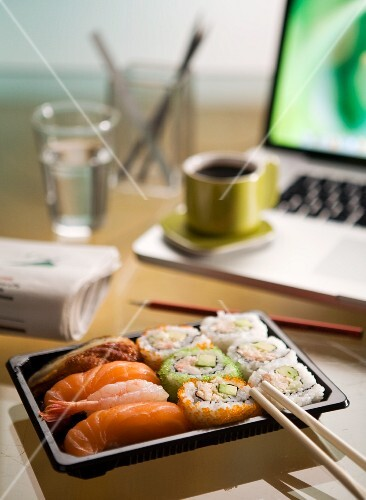 Sushi on a desk