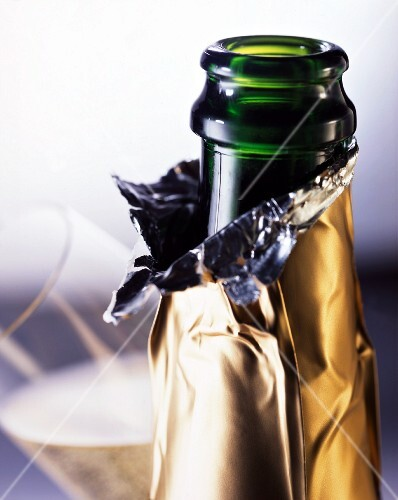 An open champagne bottle