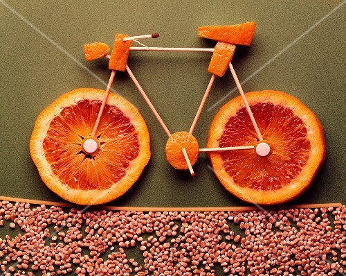 An orange bicycle