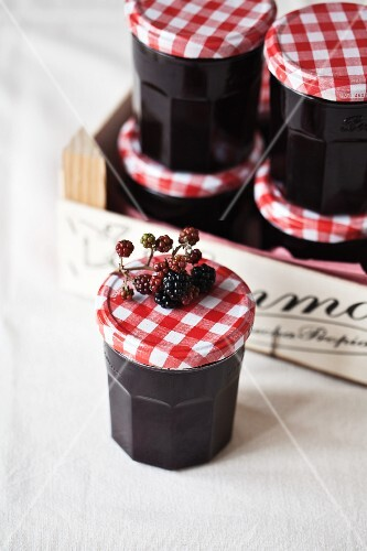 Jars of blackberry jam