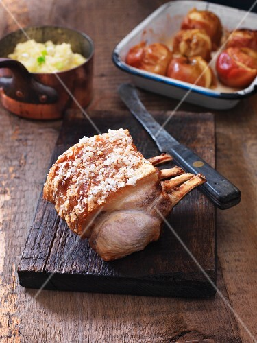 Rack of pork with roasted apples
