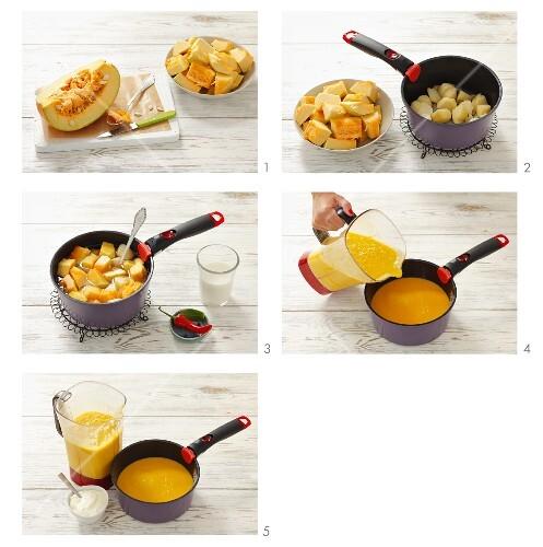 Pumpkin soup being prepared (German Voice Over)