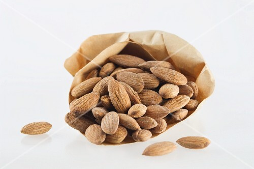 Almonds in a paper bag