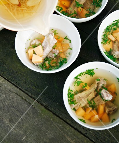 Broth with bamboo mushrooms, melon and pork ribs