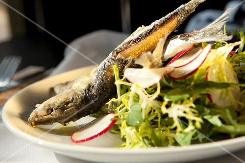 Fried Sardines with Mixed Greens and Radish Salad