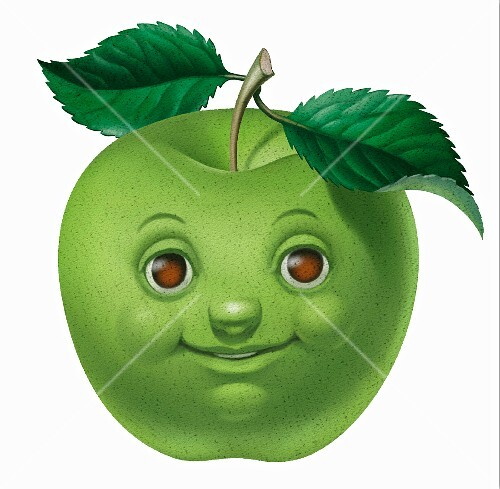 A green apple with a smiling face and two leaves (illustration)